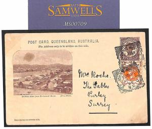 QUEENSLAND CARD USED GB/Australia Mixed Franking 1899 Squared Circle Cover MS709