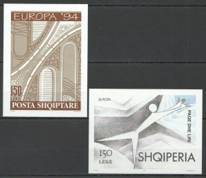 EC080 IMPERFORATE 1994,1995 ALBANIA EUROPA CEPT !!! 2BL MNH
