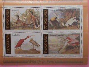 TANZANIA STAMP-1986 SC#309a,WILD LIFE IN PERIL-AUDUBON BIRDS -MNH STAMP SHEET