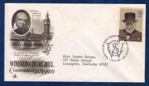 Great Britain SG963 FDC 5-1/2p First Day Cover Winston Churchill Photo 9-10-1974