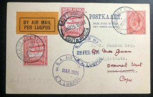 1925 Somerset South Africa First Flight Postcard Cover FFC to East London