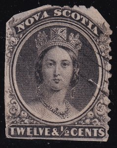 CANADA NOVA SCOTIA STAMP 1860 -1863 Queen Victoria 12 1/2C USED FAULT