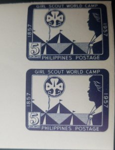 J) 1957 PHILIPPINES GIRL SCOUT WORLD CAMP, IMPERFORATED, MNH