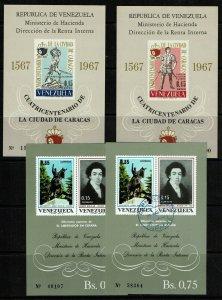 Venezuela 4 Souvenir Sheets, Never Hinged and Used, few sm tone dots - M475