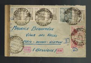 1943 Spain Miranda de Ebro Concentration camp cover to Belgium