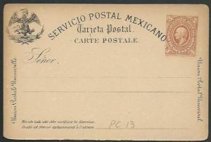 MEXICO 1880s 3c postcard unused............................................60374