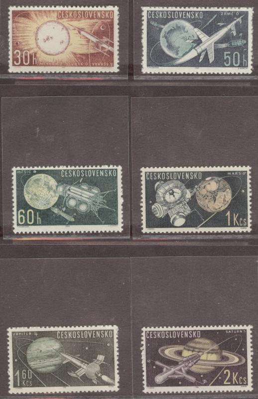 CZECHOSLOVAKIA Scott 1169-1174 MNH** 1962 Space set