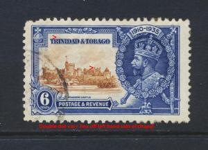 TRINIDAD & TOBAGO 1935 SILVER JUBILEE 6c DOUBLE VAR USED SG#241v (SEE BELOW)