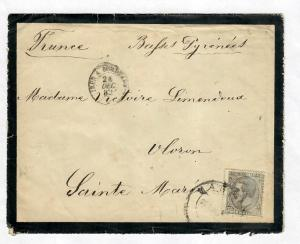 Mourning Cover Spain-France 1882 Sc#246