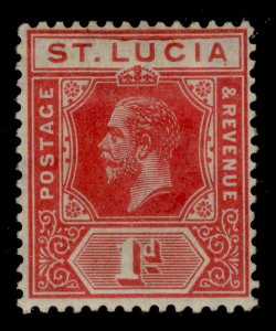ST. LUCIA GV SG79b, 1d rose-red, M MINT.