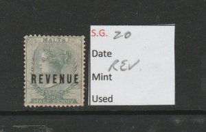 MALTA SG 20 1/2d Green, Revenue Stamp QV 1885.