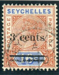 SEYCHELLES-1901 3c on 16c Chestnut & Ultramarine MALFORMED S. Used Sg 38d