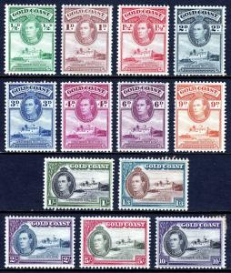 GOLD COAST — SCOTT 115-127 (SG 120-132) — 1937-41 KGVI SET — MH — SCV $27.90