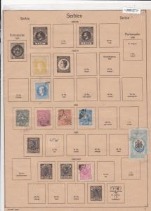 Serbia Stamps on Album Page ref R 18955