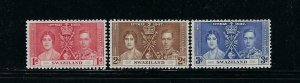 SWAZILAND SCOTT #24-26 1937 GEORGE VI CORONATION  -MINT NEVER HINGED