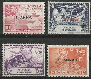 Somaliland # 112-15  U.P.U. Anniversary  1949 (4)  VLH Unused