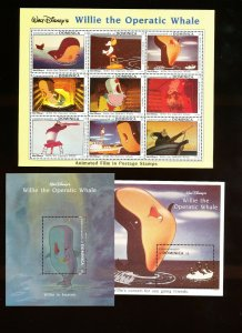 DOMINICA - Scott 1631-1633  VFMNH - DISNEY - Willie The Operatic Whale - 1993
