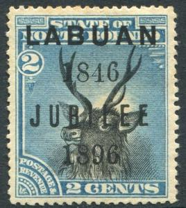 LABUAN-1896 Jubilee 2c Black & Blue Sg 83 AVERAGE MOUNTED MINT  V20242