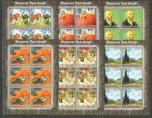 KV329 2002 CHAD NEW ART PAINTINGS VINCENT VAN GOGH !!! 6SET MNH