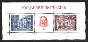 Austria. 1976. Bl 3. Theater, architecture. MVLH.