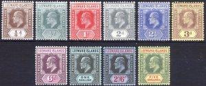 Leeward Is 1907 1/4d-1s EVII Key Plt SG 36-45 Scott 34-45 LMM/MLH Cat £130($175)