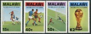 MALAWI Sc#566-569 1990 World Cup Soccer Complete Set OG Mint Hinged
