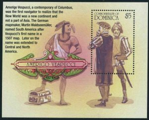 Dominica 2398 sheet,MNH. Amerigo Vespucci,1454-1512,explorer.2002.