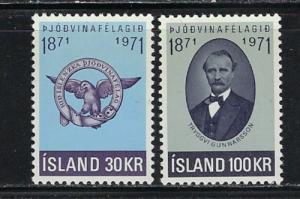 Iceland 433-34 Hinged 1971 set