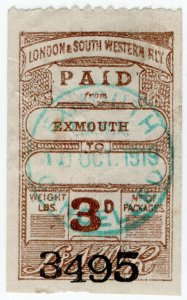 (I.B) London & South Western Railway : Paid Parcel 3d (Exmouth)