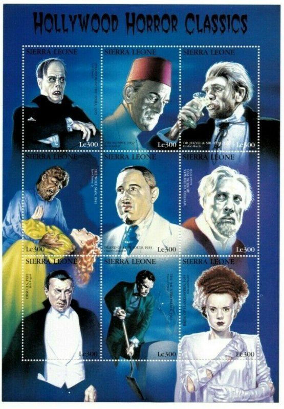 Sierra Leone MNH S/S Hollywood Horror Movie Actors 9 Stamps