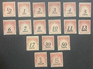 J88-J104 – 1959 Rotary Press 17V.  MNH.  OG.