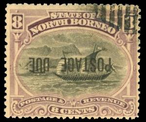 North Borneo Scott J5 Variety Gibbons D7ba Used Stamp