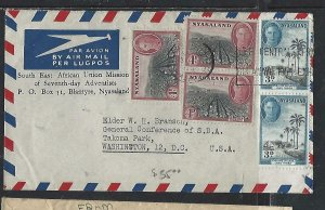 NYASALAND COVER (PP0111B) KGVI  4DX3+3D2 A/M TO USA