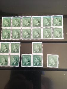 Canada #O16 (20) 1c KGVI Ovpt. G Fresh & VF-NH USC Cat. $30. Includes Blocks.