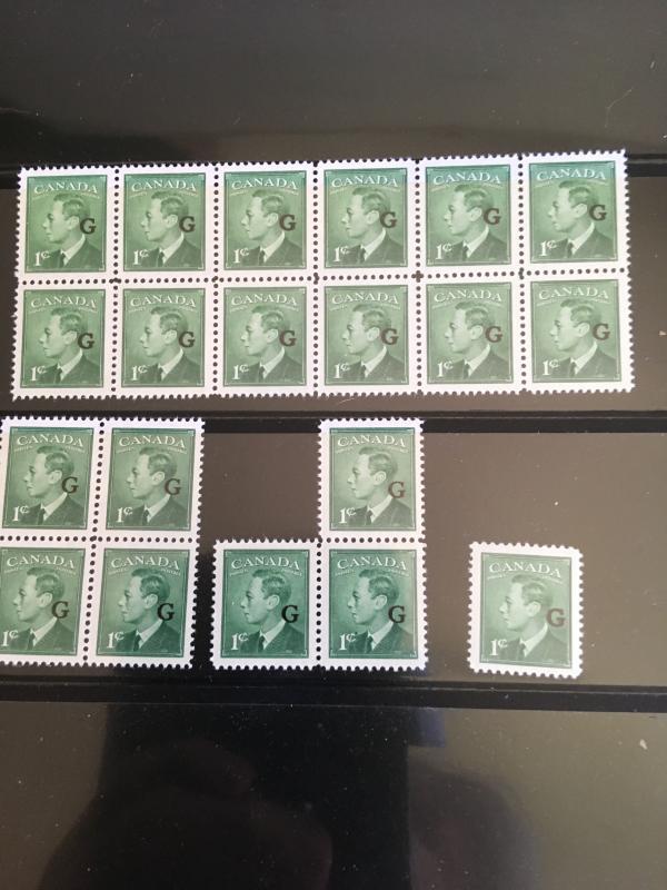 Canada #O16 (20) 1c KGVI Ovpt. G Fresh & VF-NH USC Cat. $30. Includes Blocks.