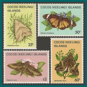Cocos 1983 Butterflies Moths 4, MNH 92,97,99,101,SG89,SG94,SG96,SG98