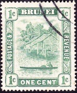 BRUNEI 1908 1c Green Type I SG34 FU