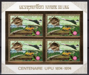 Laos 1975 CONCORDE-UPU Gold Foil Mini-Sheetlet of 4 IMPERF.MNH