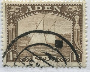 Aden 1937 1 rupee brown CDS used