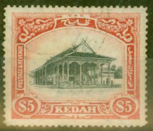 Kedah 1921 $5 Black & Dp Carmine SG40w Crown to left of CA V.F.U