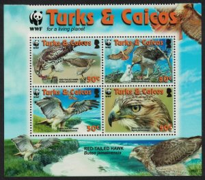 Turks and Caicos Birds WWF Red-tailed Hawk Block of 4 2007 MNH SG#1969-1973