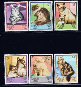 Laos 493-98 MNH 1983 Cats complete set
