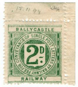 (I.B) Ballycastle Railway : Letter Stamp 2d (watermarked paper)