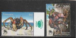 Vanuatu  Scott#  942-3  MNH  (2008 Coconut Crab)