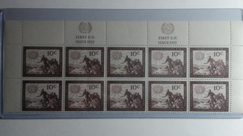 UNITED NATIONS SCOTT # 6 DOUBLE PLATE BLOCK OF 10 MNH FIRST ISSUE 1951 GEM