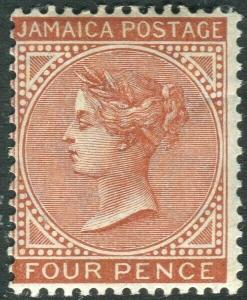JAMAICA-1908 4d Red-Brown.  A lightly mounted mint example Sg 48