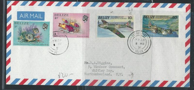 BELIZE (P0612B) 1991 FISH+AIRPLANES CROOKED TREE TO USA  A/M