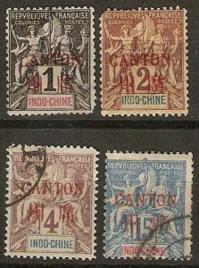 France Off China Canton 4 Diff M/U 1901 SCV $15.60