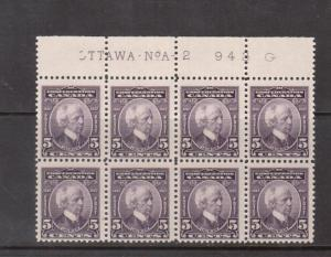Canada #144 NH Mint Plate #2 Upper Block Of Eight