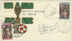 74164 - BRAZIL - Postal History - FOOTBALL Wold Cup 1970 signed PELE + BRITO